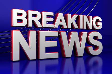 3D illustratie van een breaking news TV-scherm Stockfoto
