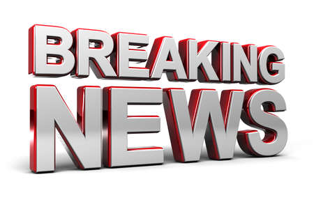 3D illustratie van een breaking news TV-scherm over wit Stockfoto