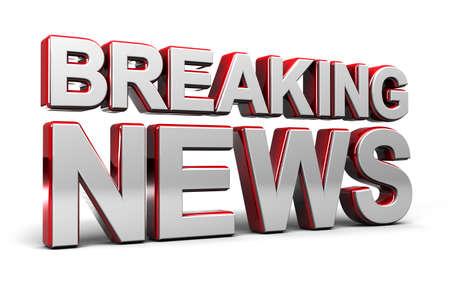 rompiendo: Ilustraci�n 3D de una pantalla de TV noticias de �ltima hora sobre blanco Foto de archivo