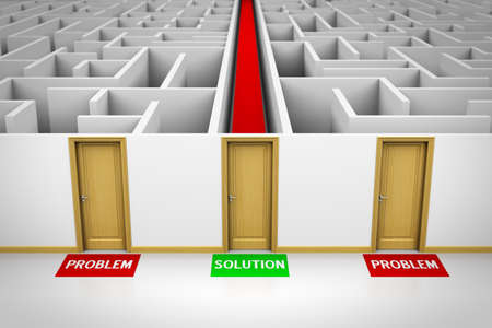 leading: Solution concept showing three closed doors leading to problems and also to a solution. Stock Photo