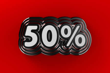 Fifty percent sign in chrome over gradient red background photo