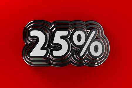 Twenty five percent sign in chrome over gradient red background photo