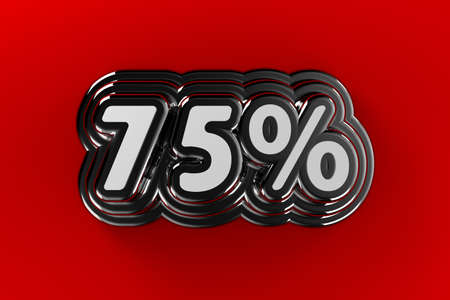 seventy: Seventy five percent sign in chrome over gradient red background