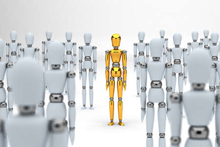 alone in crowd: Golden mannequin standing out between white mannequins Stock Photo
