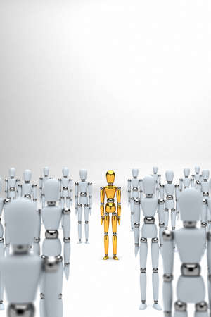 standing out from the crowd: Golden mannequin standing out between white mannequins Stock Photo