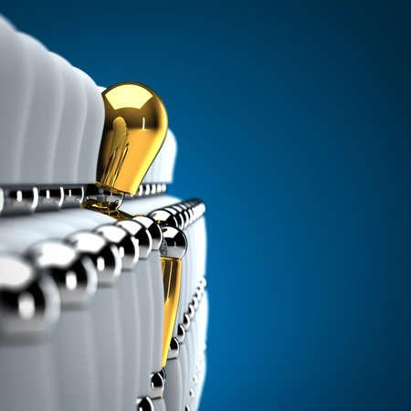 흰색 마네킹의 행의 개 정점 황금 마네킹을 보여주는 개성 개념 스톡 콘텐츠