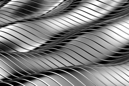 aluminium wallpaper: Abstract wave background with reflective surface