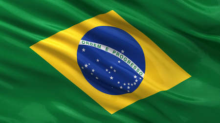 brazil country: Flag of Brazil waving in the wind