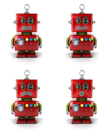 Kleine vintage speelgoed robot met vier verschillende gezichtsuitdrukkingen op een witte achtergrond