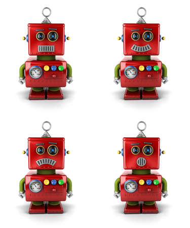 Little vintage toy robot with four different facial expressions over white background Foto de archivo