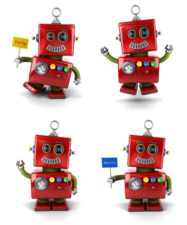 Little vintage toy robot set jumping and waving over white background photo