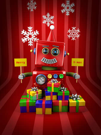 Little happy vintage toy robot with christmas presents photo