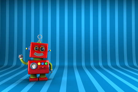 Little happy vintage toy robot waving happily over striped  background