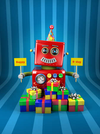 Little happy vintage toy robot holding birthday signs with presents over blue background photo