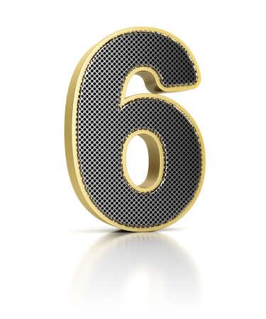 metaal: De nummer zes als een glimmend metalen voorwerp, op, witte Stockfoto