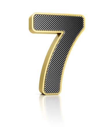 number seven: The number seven as a shiny metal object over white Stock Photo