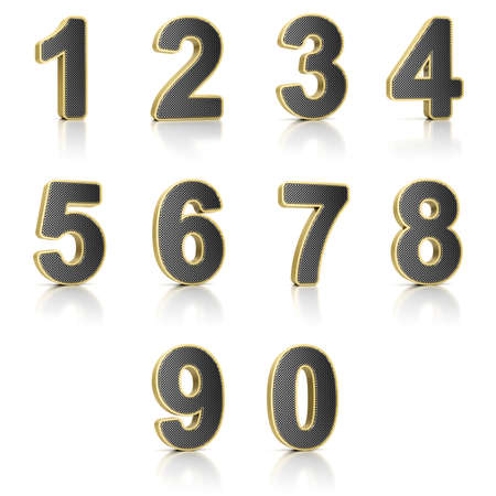Number from 0 to 9 with perforated metal over white background photo
