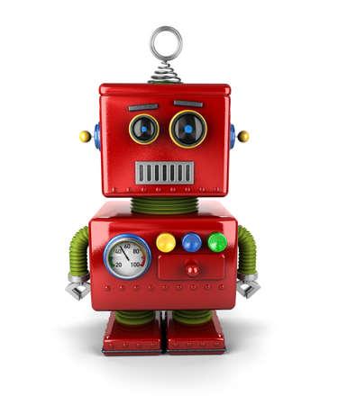 juguetes antiguos: Poco robot juguete de la vendimia con la expresión facial neutral sobre fondo blanco Foto de archivo