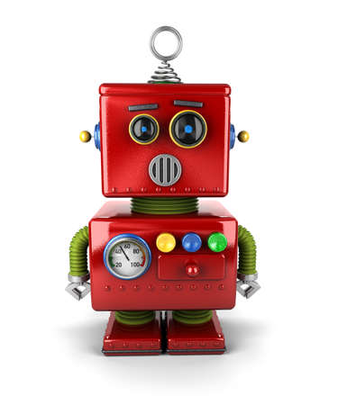 Kleine vintage speelgoed robot die is verbaasd over witte achtergrond