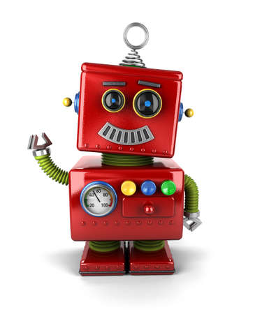 tin robot: Little vintage toy robot waving hello over white background Stock Photo