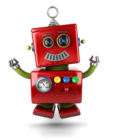 Little vintage toy robot jumping of joy over white background Stock Photo