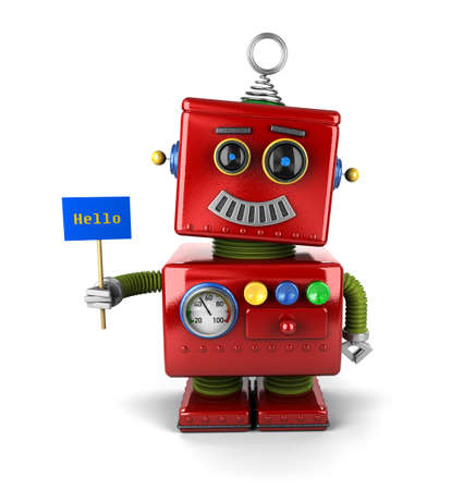 Little happy vintage toy robot holding a hello sign over white background photo
