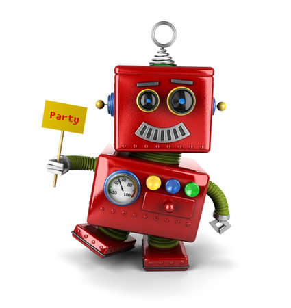 tin robot: Little happy vintage toy robot holding a party sign over white background