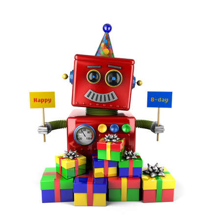 Little happy vintage toy robot holdingbirthday signs with presents over white background