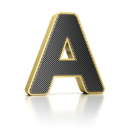 perforated surface: The letter A as a perforated metal object over white Stock Photo