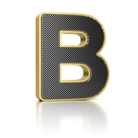 letter b: The letter B as a perforated metal object over white