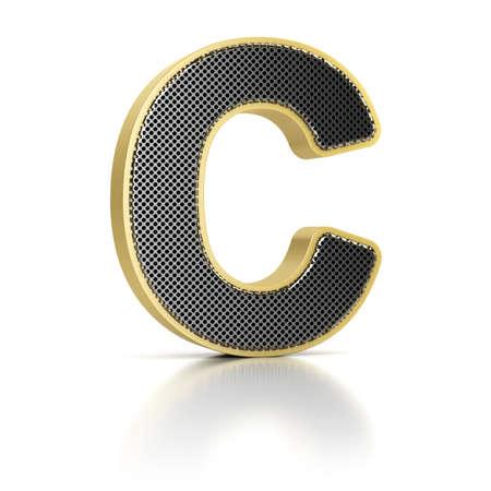 letras cromadas: La letra B como un objeto de metal perforado más de blanco Foto de archivo
