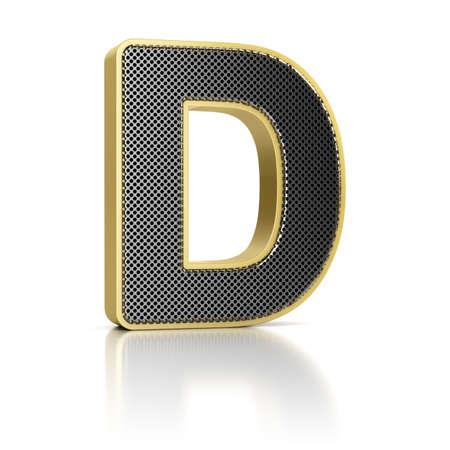 perforated: The letter D as a perforated metal object over white Stock Photo