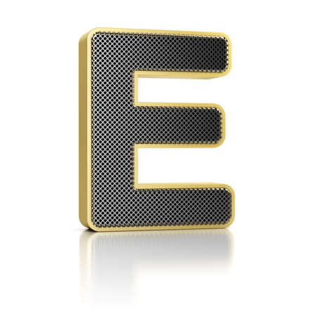 perforated surface: The letter E as a perforated metal object over white