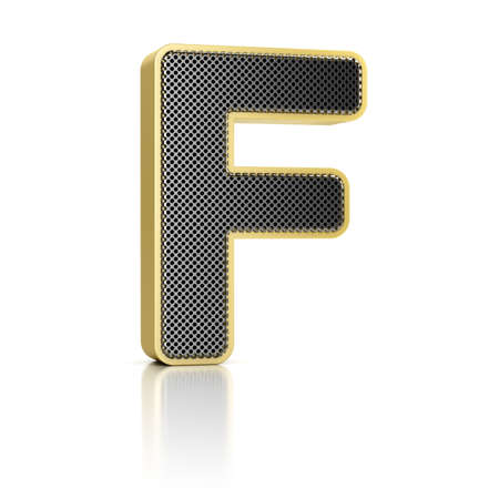 The letter F as a perforated metal object over white photo