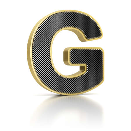 The letter G as a perforated metal object over white photo