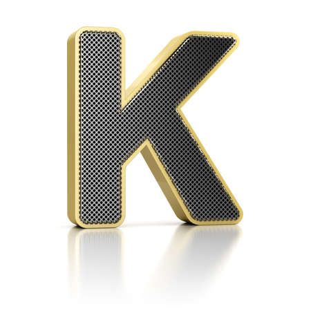 perforated surface: The letter K as a perforated metal object over white