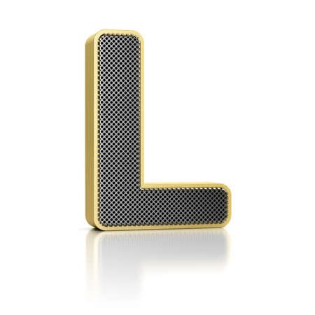 The letter L as a perforated metal object over white Stock Photo - 15750003