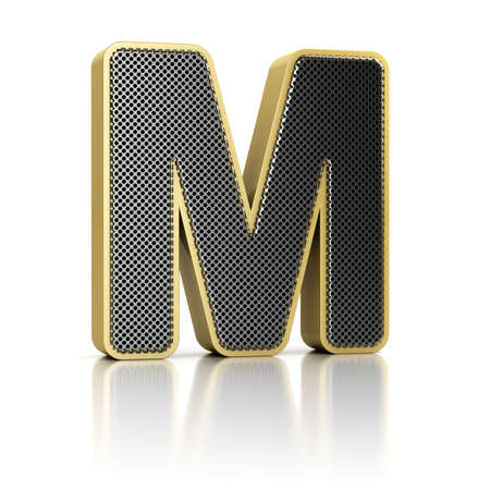 The letter M as a perforated metal object over white Stock Photo - 15750053