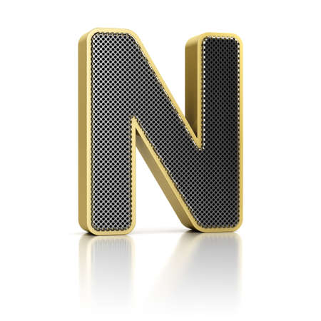 perforated surface: The letter N as a perforated metal object over white Stock Photo