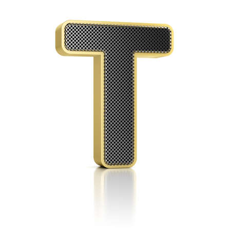 The letter T as a perforated metal object over white Stock Photo - 15750000