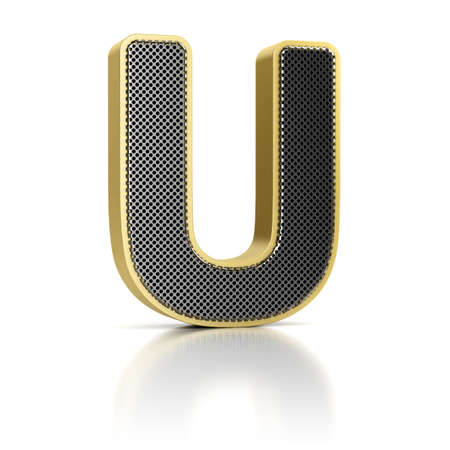 The letter U as a perforated metal object over white Stock Photo - 15750035