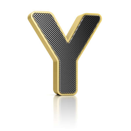 The letter Y as a perforated metal object over white photo