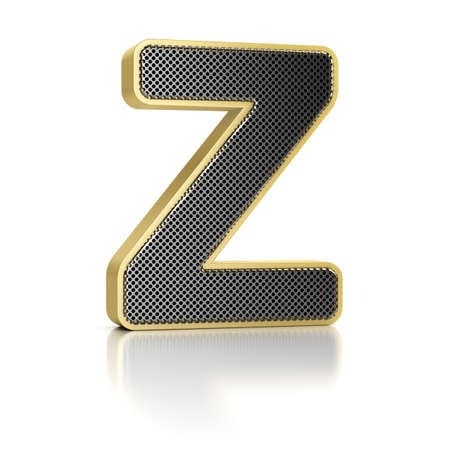 The letter Z as a perforated metal object over white Stock Photo - 15750031