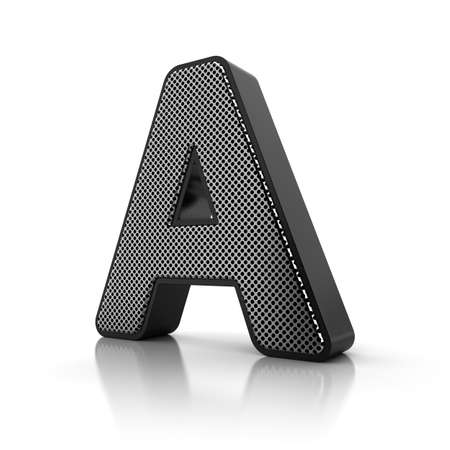 The letter A as a perforated metal object over white photo