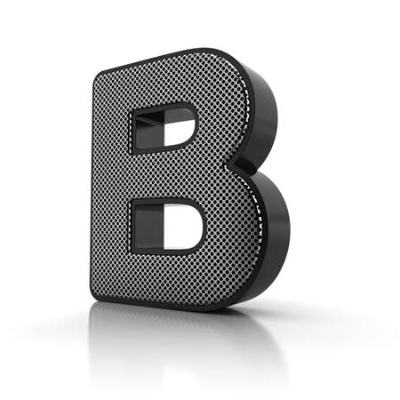 The letter B as a perforated metal object over white Stock Photo - 15916589