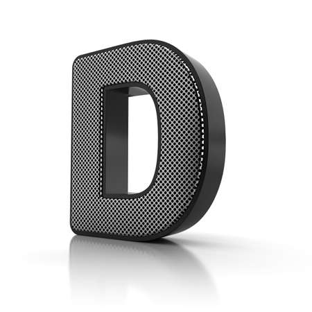 chrome letters: The letter D as a perforated metal object over white Stock Photo