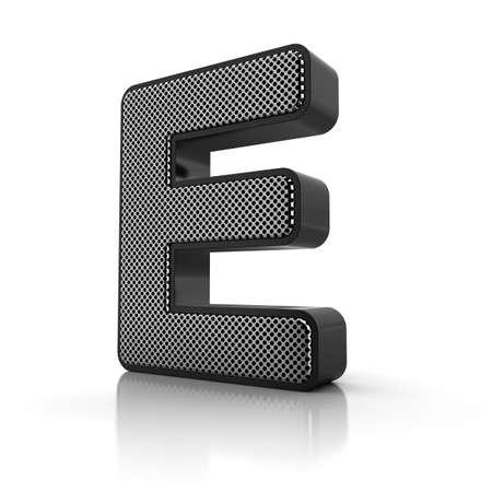 The letter E as a perforated metal object over white photo