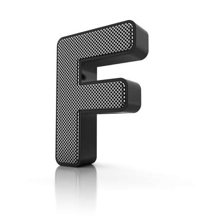 perforated surface: The letter F as a perforated metal object over white Stock Photo
