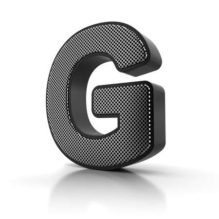 The letter G as a perforated metal object over white Stock Photo - 15916591