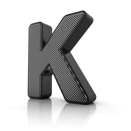 perforated: The letter K as a perforated metal object over white